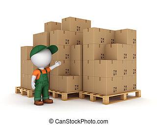 小さい, 人, カートン, boxes., 3d