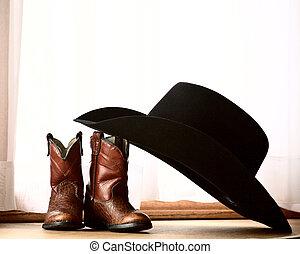 小さい, 傾倒, 帽子, ブーツ, カウボーイ