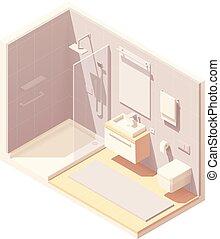 小さい, 内部, 等大, ベクトル, 浴室