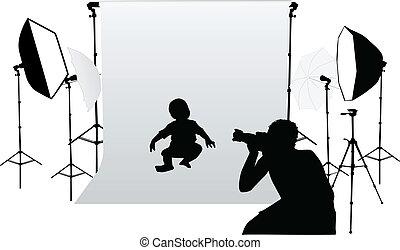 小さい, 写真, 取得, 子供