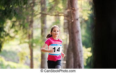 小さい, 動くこと, 競争, nature., レース, 子供, 光景, 前部