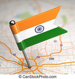 小さい, 地図, 旗, インド, バックグラウンド。