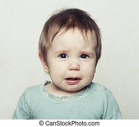 小さい, 女の赤ん坊, crying., 悲しい子供