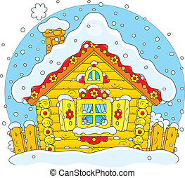 小さい, 小屋, 丸太, 雪