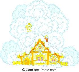 小さい, 小屋, 雪で覆われている