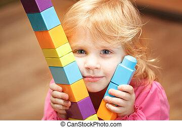 小さい, 建設, 立方体, 女の子, 遊び