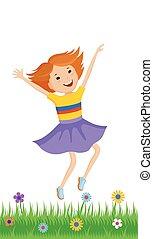 小さい, 役割を果たす, 女の子, イラスト, ダンス