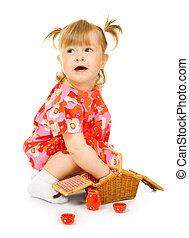 小さい, 微笑の赤ん坊, 中に, 赤いドレス, ∥で∥, おもちゃ, バスケット