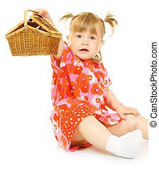 小さい, 微笑の赤ん坊, 中に, 赤いドレス, ∥で∥, おもちゃ, バスケット, 隔離された