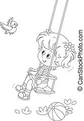 小さい, 振動, 鳥, 陽気, 女の子