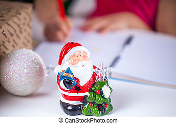 小さい, 書く, 手紙, santa, 子供