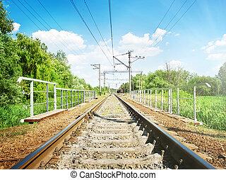 小さい, 橋, 鉄道, によって, 渡ること