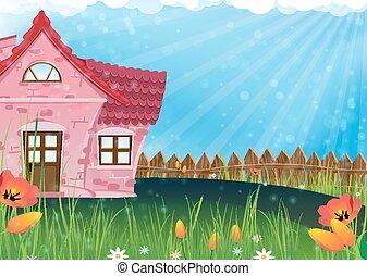 小さい, 田園, 家