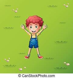 小さい 男の子, あること, 上に, ∥, 緑の草