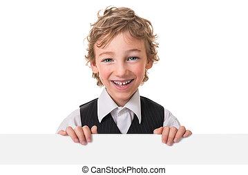 小さい 男の子, ある, かいま見ること, から, 空白のサイン