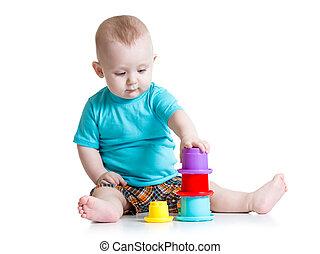 小さい 男の子, おもちゃで遊ぶ