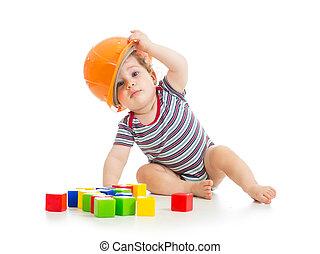 小さい 男の子, ∥で∥, 堅い 帽子, そして, ブロック