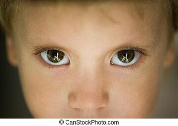 小さい 男の子, クローズアップ, 目