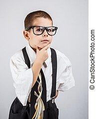 小さい 男の子, スーツ, ビジネス