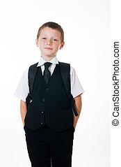 小さい 男の子, スーツ, 黒
