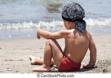 小さい 男の子, モデル, 上に, a, 浜