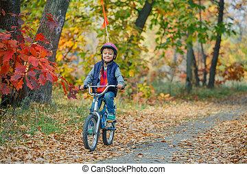 小さい 男の子, 上に, 自転車