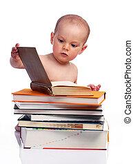 小さい 男の子, 後ろに座る, a, 本の積み重ね