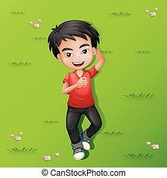 小さい 男の子, 横たわる, 芝生に