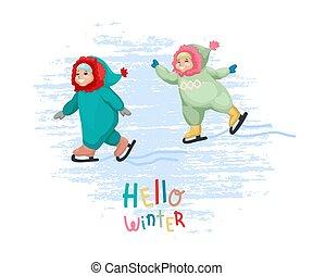 小さい 男の子, 氷, イラスト, ベクトル, 幸せ, skating., 女の子