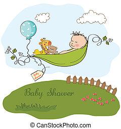 小さい 男の子, 睡眠, 中に, a, エンドウ豆, ある