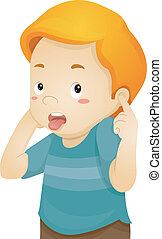 小さい 男の子, 耳, カバー, 彼の