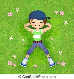 小さい 男の子, 草にあること