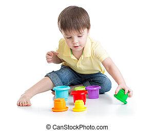 小さい 男の子, 遊び, ∥で∥, カップ, おもちゃ