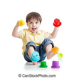小さい 男の子, 遊び, ∥で∥, 色, おもちゃ