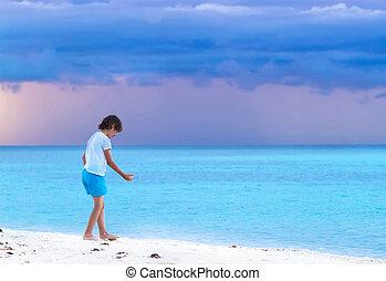 小さい 男の子, 遊び, 上に, a, 熱帯 浜, ∥において∥, 日没