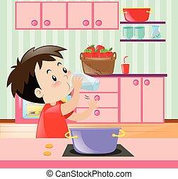 小さい 男の子, 飲料水, 中に, 台所