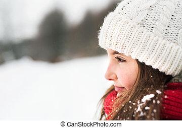 小さい, 肖像画, nature., 冬, 女の子