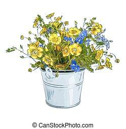 小さい, 花束, 花, 牧草地
