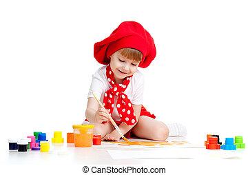 小さい, 芸術家, 子供の絵画, ∥で∥, ブラシ