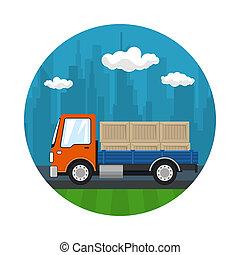 小さい, 貨物, アイコン, 箱, トラック