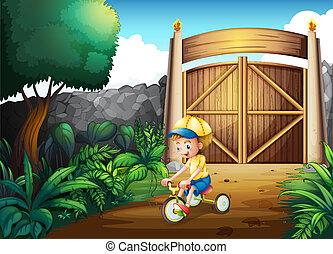 小さい, 門, 中, 遊び, 子供