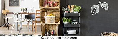 小さい, 食料貯蔵室, 中に, 食堂
