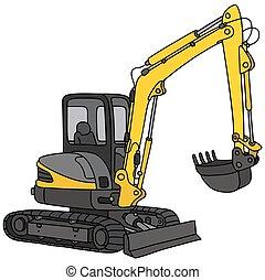 小さい, 黄色, 掘削機