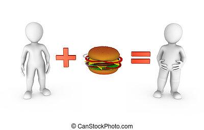 小さい, 3d, ハンバーガー, 人々