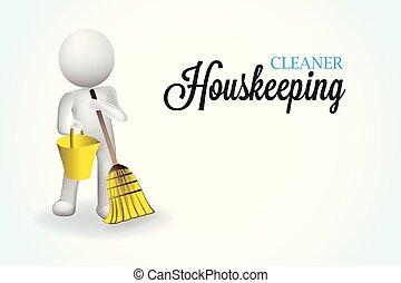 小さい, 3d, housecleaning, 人々