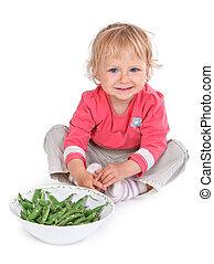 小さい, grean, 女の子, エンドウ豆