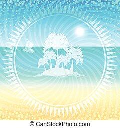 小さい, palms., 砂ビーチ, 島