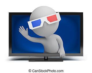 小さい, tv, 3d, -, 人々
