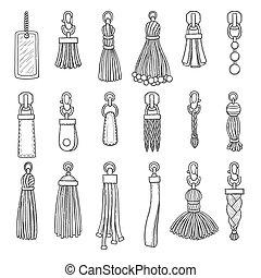 小さな装身具, 作られた, 革, 項目, accessories., コレクション, ベクトル, ハンドバッグ, ...