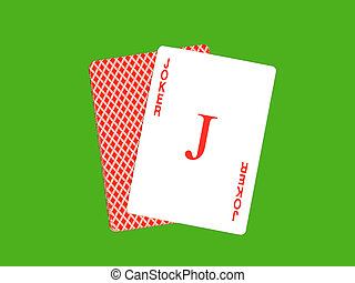 小丑, 卡片, 在上, 绿色, 娱乐场, 背景。
